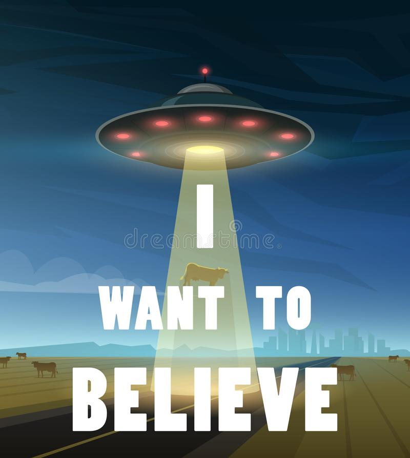 UFO ή πετώντας πιατάκι στο διάστημα Οι αλλοδαποί προώθησαν ένα διαστημικό σκάφος Επιγραφή θέλω να πιστεψω Μια λάμψη του φωτός λάμ ελεύθερη απεικόνιση δικαιώματος