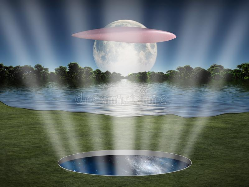 UFO αιωρείται πέρα από τη διαστημική πύλη στοκ φωτογραφίες