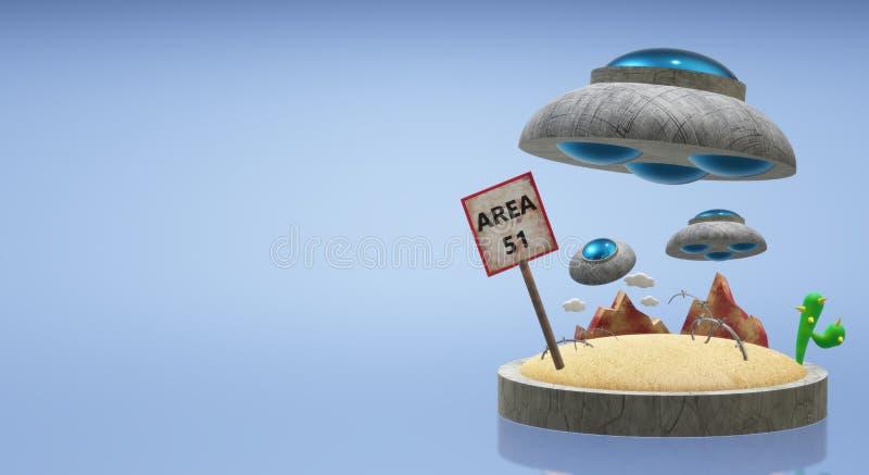 Ufo στην περιοχή 51 τρισδιάστατη απόδοση για το περιεχόμενο επιστήμης απεικόνιση αποθεμάτων