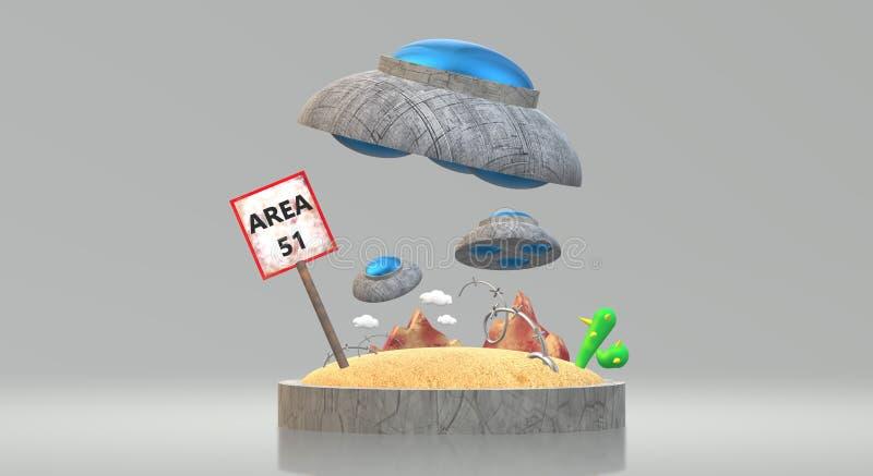 Ufo στην περιοχή 51 τρισδιάστατη απόδοση για το περιεχόμενο επιστήμης διανυσματική απεικόνιση
