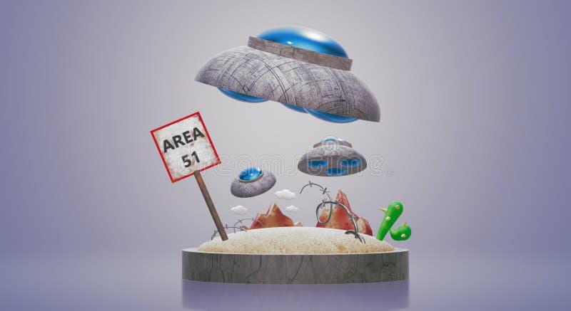 Ufo στην περιοχή 51 τρισδιάστατη απόδοση για το περιεχόμενο επιστήμης ελεύθερη απεικόνιση δικαιώματος