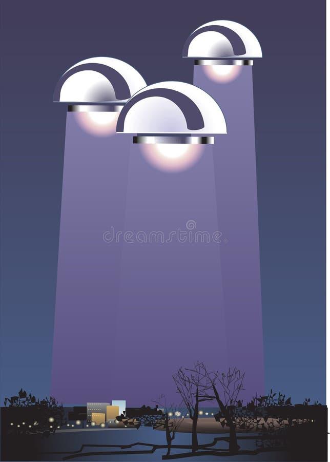 UFO στο νυχτερινό ουρανό επάνω από την πόλη με την ακτινοβόλο ακτίνα r διανυσματική απεικόνιση