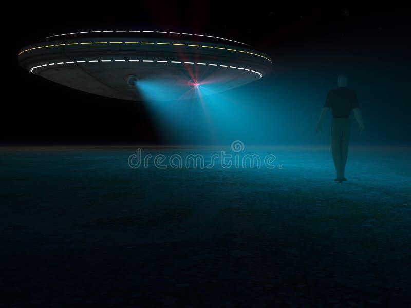 Ufo атакуя и похищая иллюстрация вектора