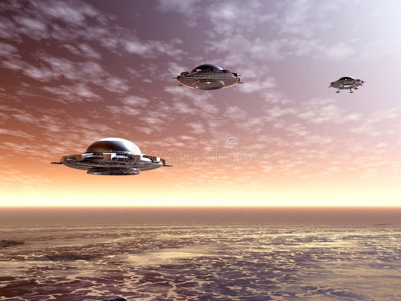 ufo восхода солнца иллюстрация вектора