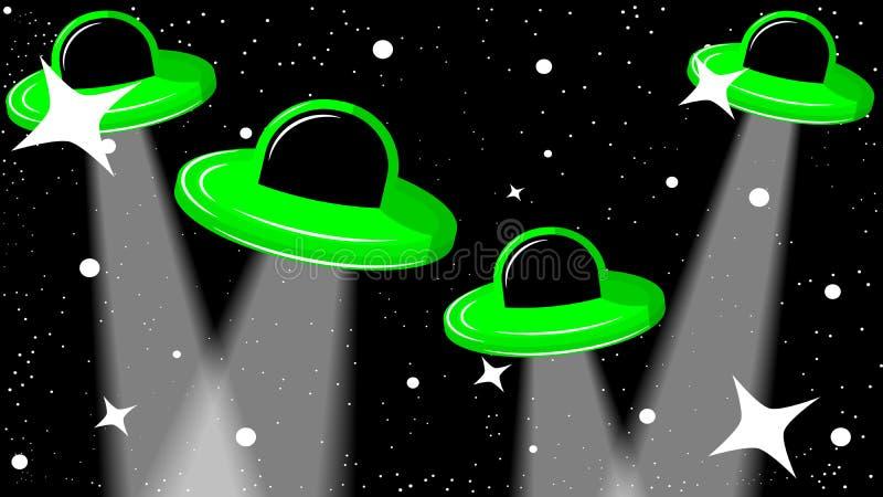 UFO в звёздном черном небе иллюстрация вектора