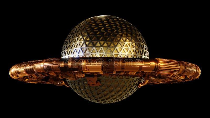 UFO, космический корабль чужеземца изолированный на черной предпосылке, летающей тарелке с взглядом 3d steampunk представляет бесплатная иллюстрация