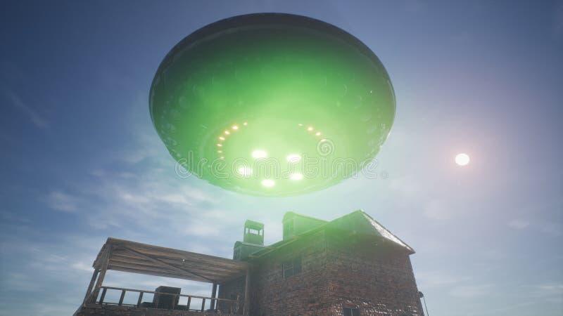 UFO летает над домом в пустыне перевод 3d стоковые изображения rf
