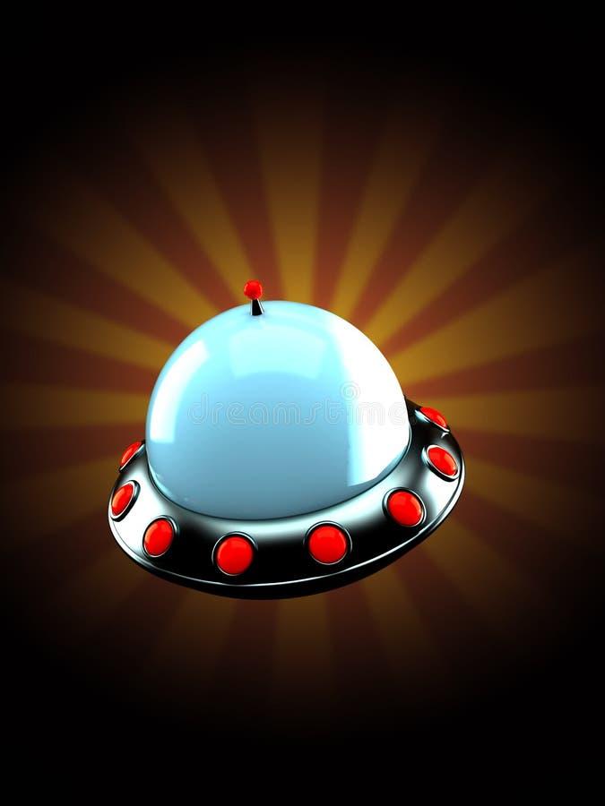 UFO на предпосылке лучей иллюстрация вектора