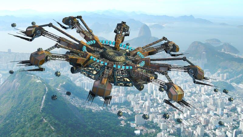 UFO паука форменный над Рио-де-Жанейро иллюстрация вектора
