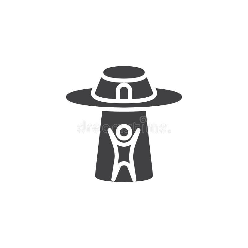 UFO похищает значок вектора человека иллюстрация вектора