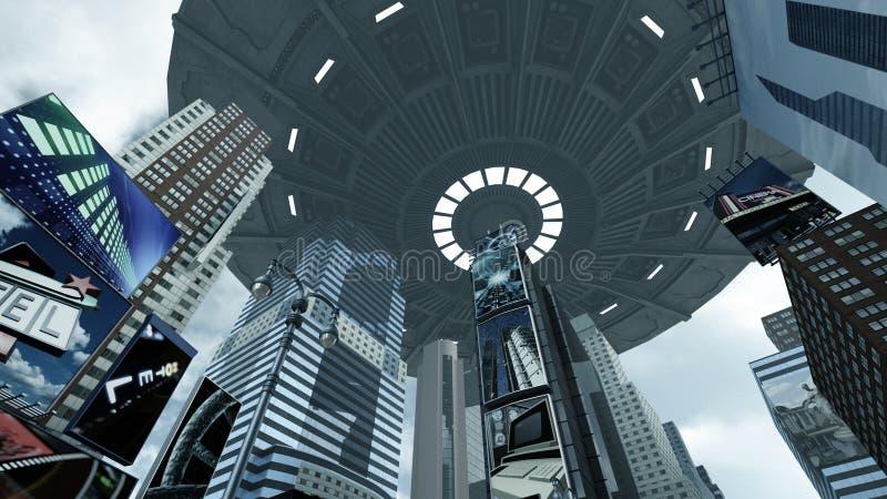 UFO чужеземца над квадратом Нью-Йорком Манхаттаном времени перевод 3d иллюстрация штока