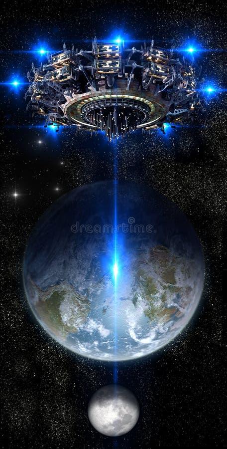 UFO чужеземца приближая к земле бесплатная иллюстрация