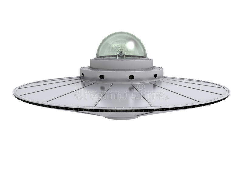 Ufo 4. An isolated hovering gray ufo with transparent dome on white background