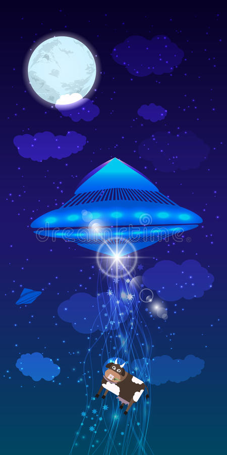 UFO abduction of a cow. illustration stock illustration