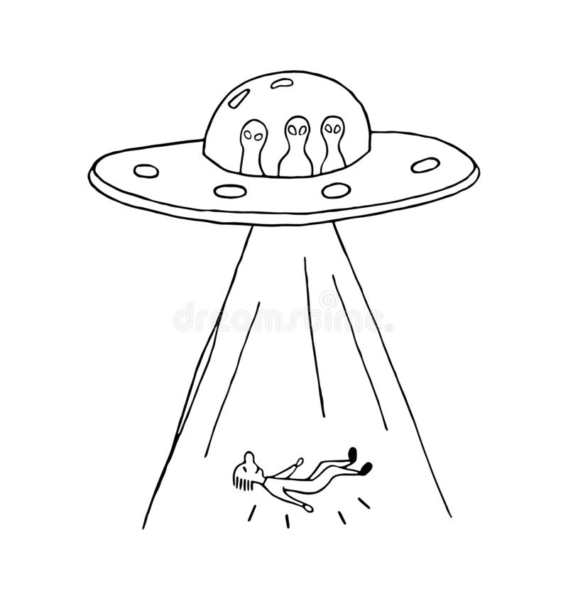 UFO abduction of a human with flying saucer. royalty free illustration