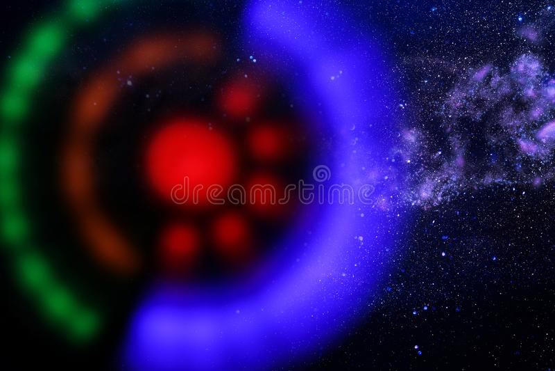 UFO abstracto de la nave espacial de la imagen en el concepto del cielo nocturno y de la astrología fotos de archivo libres de regalías