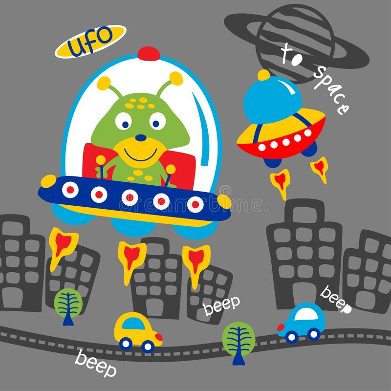 Ufo and alien funny animal cartoon,vector illustration vector illustration