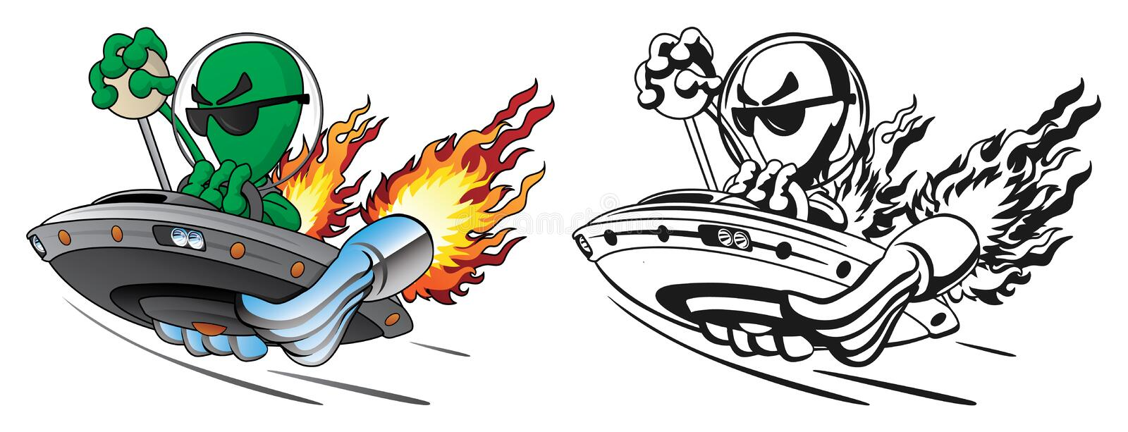 UFO Alien Hot Rod Isolated Vector Illustration in Full Color and Line Art royalty free stock photo