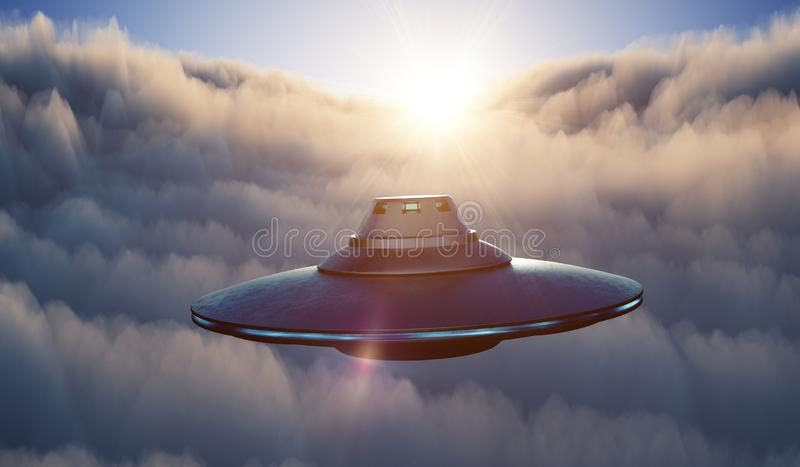 UFO alien spaceship is flying in sky above clouds at sunset. 3D rendered illustration. UFO alien spaceship is flying in sky above clouds at sunset. 3D rendered vector illustration