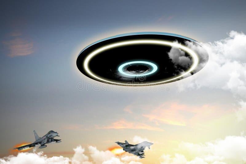 Ufo angażujący militarnymi siłami ilustracja wektor