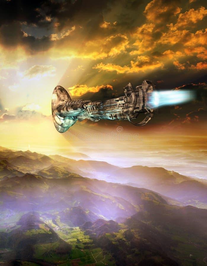 Ufo-ankomst royaltyfri illustrationer