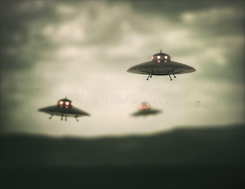UFO antigo do objeto de voo não identificado ilustração do vetor