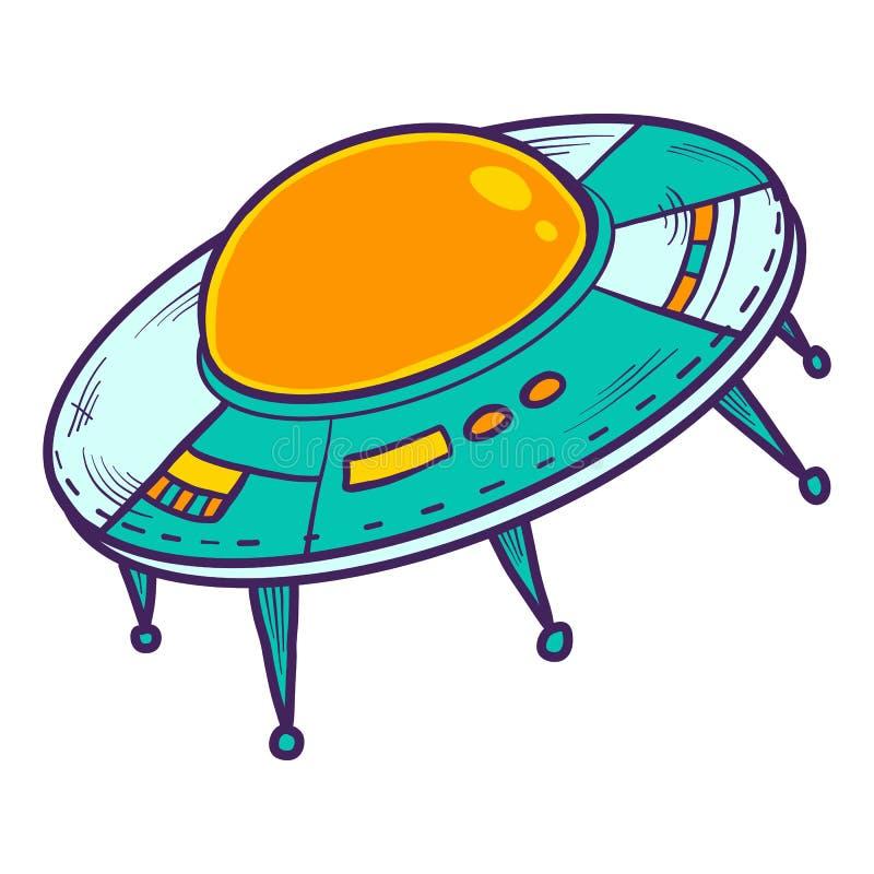 Ufo astronautycznego statku ikona, ręka rysujący styl royalty ilustracja