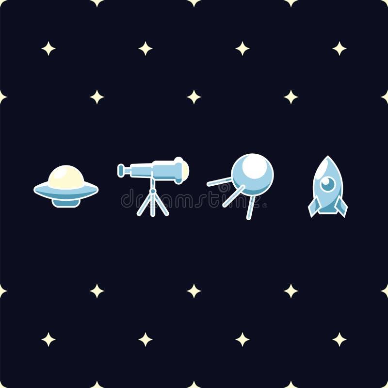 UFO, astronomische telescoop, ruimte satelliet en kosmische raket vectordieillustratie op donkerblauw wordt geïsoleerd royalty-vrije illustratie