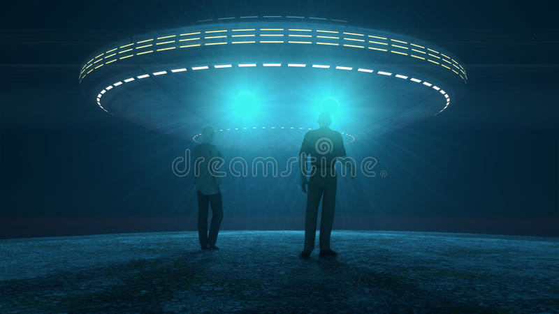 Ufo attacking and abducting royalty free stock images