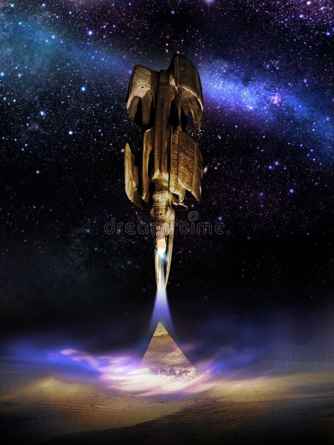 UFO au-dessus des pyramides illustration stock