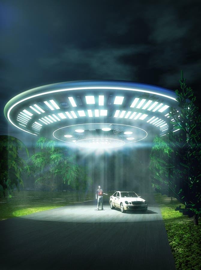 UFO-Autoabduktion lizenzfreie stockbilder