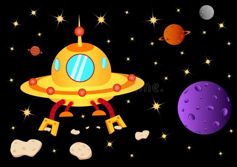 UFO avec le météore illustration stock