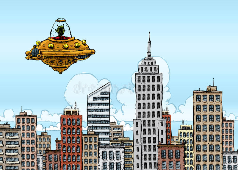 ufo-besökare royaltyfri illustrationer