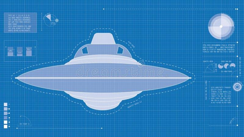 UFO blueprint stock image