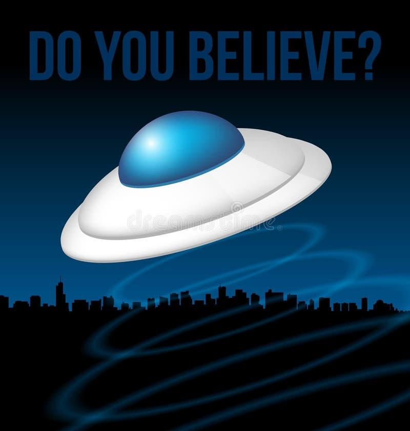 Ufo boven stadsillustratie stock illustratie