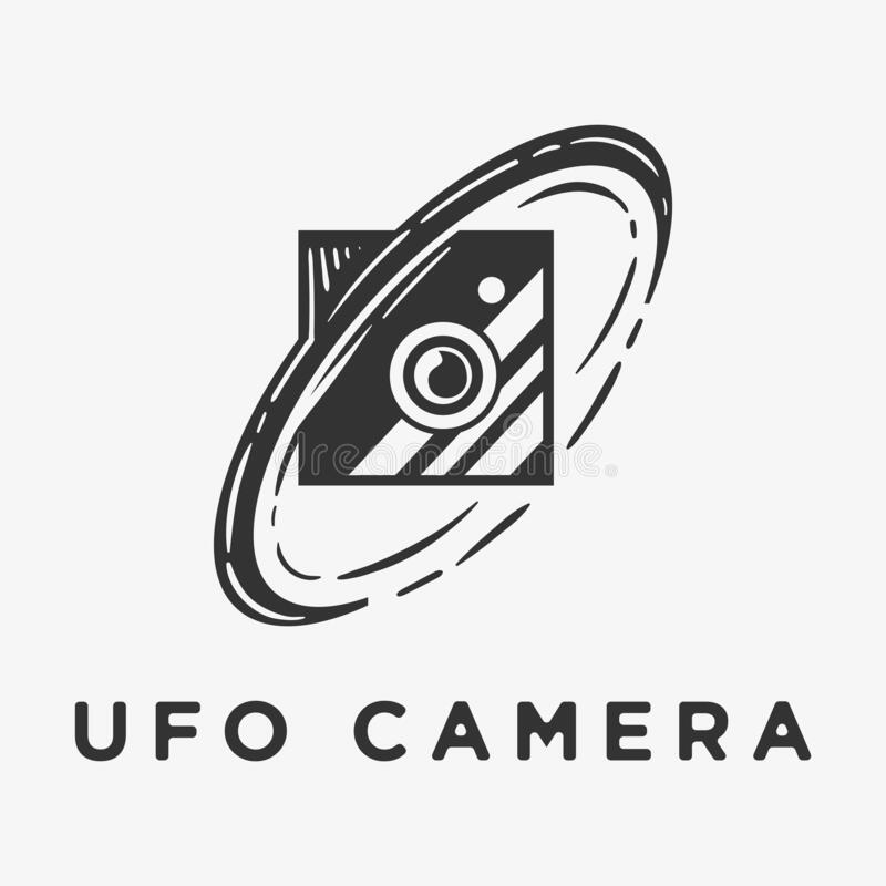 UFO camera logo vector with classic style royalty free illustration