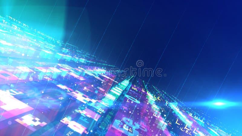 UFO colorido inclinado da superfície e do estrangeiro ilustração stock