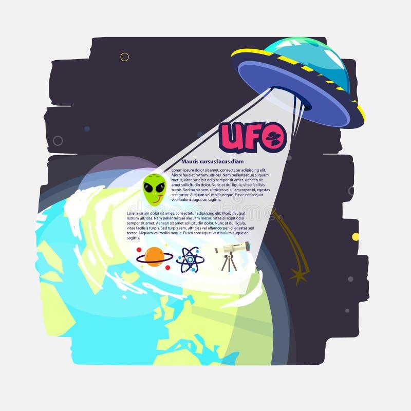 UFO com feixe de luz sobre o planeta ícone estrangeiro ajustado - vetor ilustração royalty free