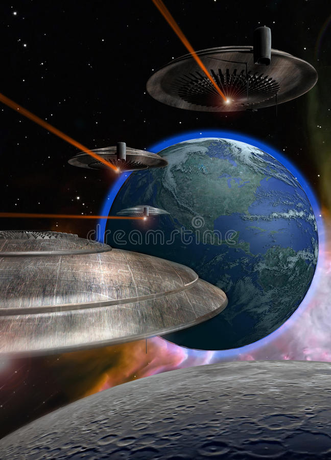 Download Ufo coming stock illustration. Image of rock, saucer - 12933637