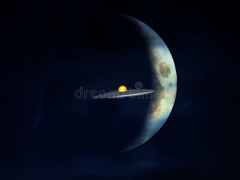UFO contre la lune illustration de vecteur