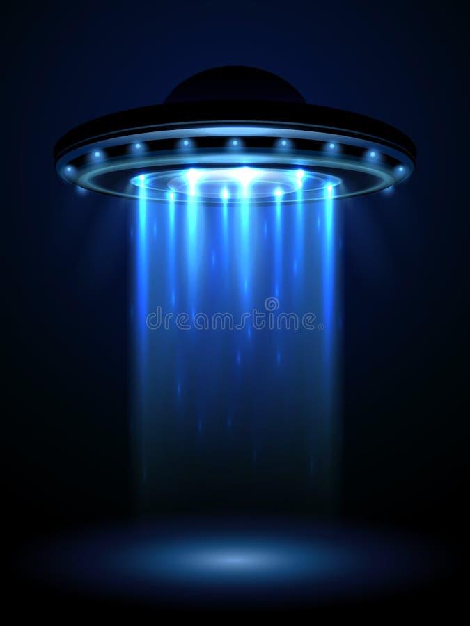 UFO d'étrangers, illustration interstellaire de vecteur de vaisseau spatial illustration libre de droits