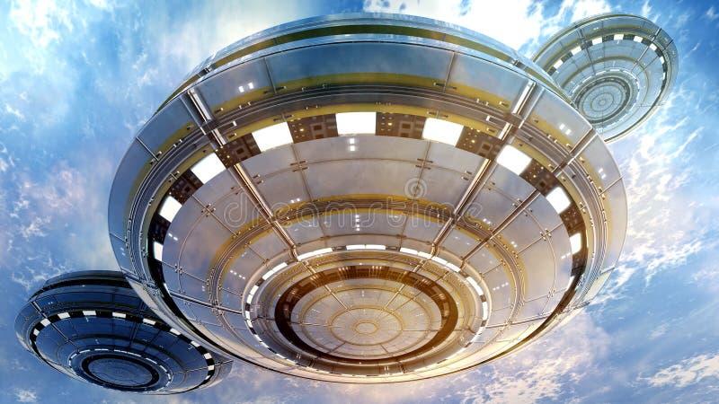 UFO 3d иллюстрация штока