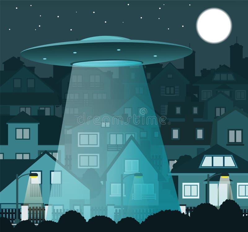 UFO, das über die Nachtstadt fliegt stock abbildung