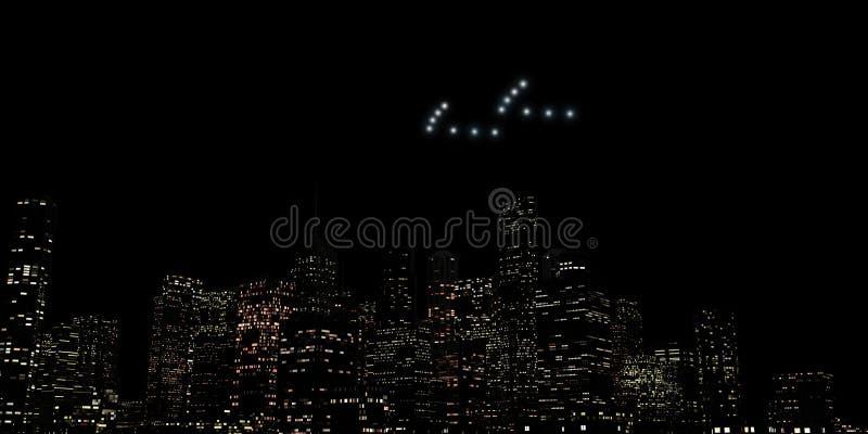 UFO, das über eine riesige Stadt fliegt stock abbildung