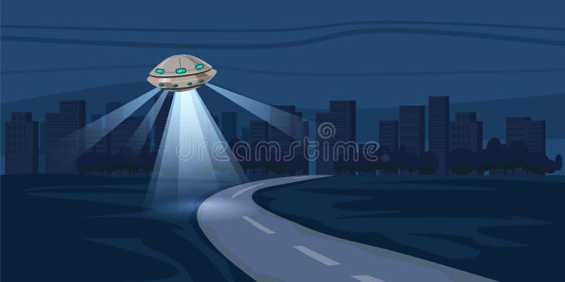 UFO, das über Nachtstadt, Metropole, Häuser, Wolkenkratzer, teuer, Vektor, Illustration fliegt stock abbildung
