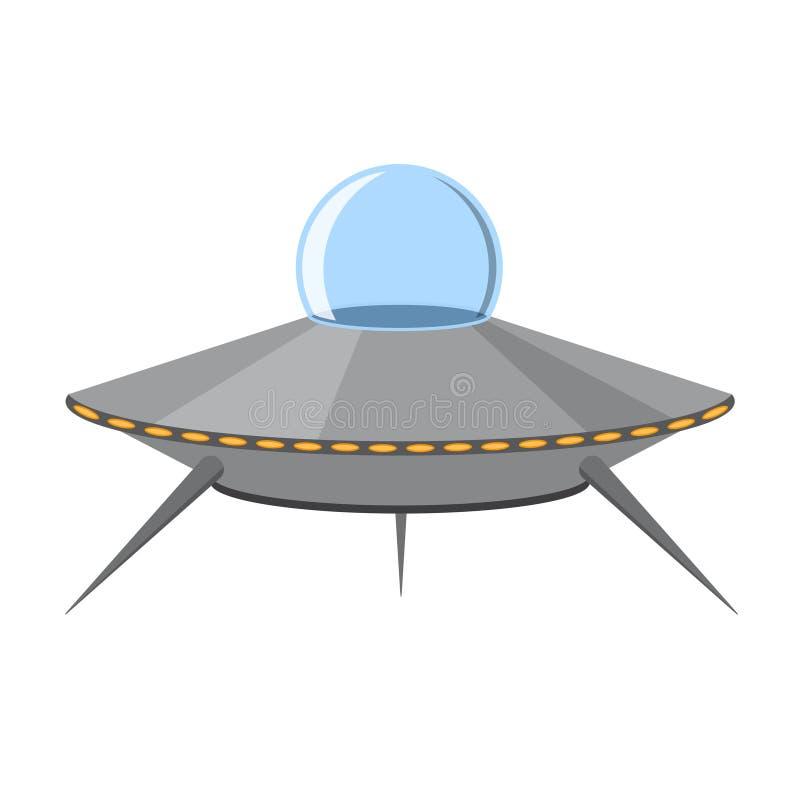 UFO de la historieta aislado en el fondo blanco Vector ilustración del vector