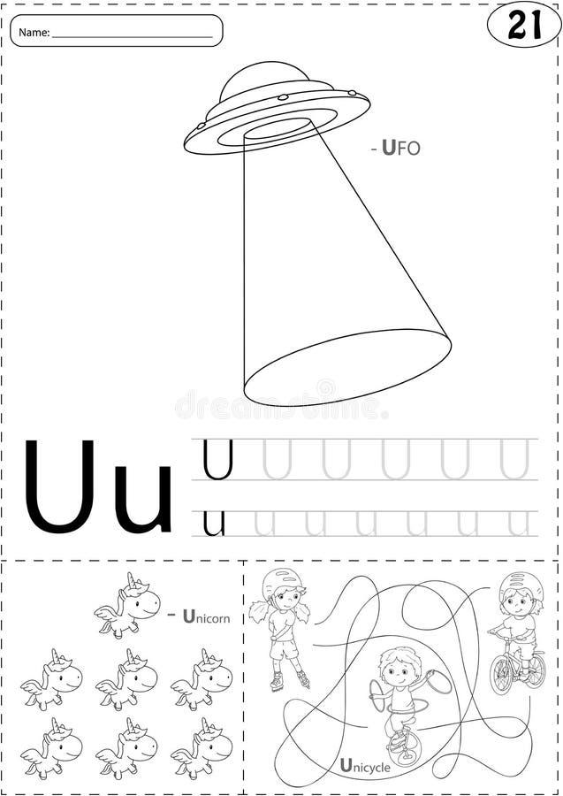 UFO de la historieta, unicornio y muchacho en el unicycle Alfabeto que remonta w libre illustration