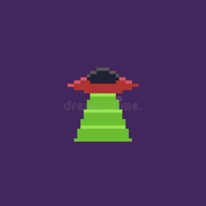 UFO del arte del pixel stock de ilustración