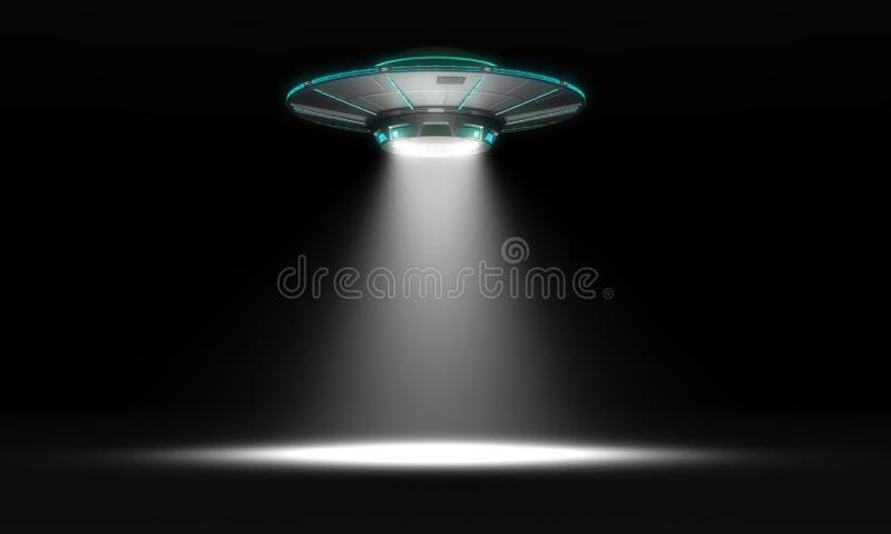 UFO del vintage aislado en negro ilustración 3D fotos de archivo libres de regalías