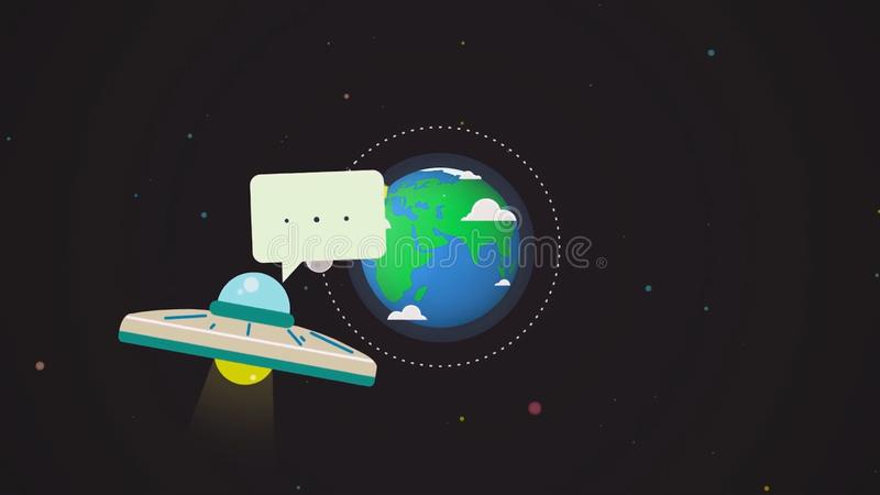 UFO del vuelo con un lugar para el mensaje en el globo de la tierra en el fondo del espacio exterior, animación de la historieta  stock de ilustración